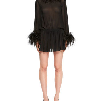 Saint Laurent Feather-Trim Cinched Chiffon Mini Dress