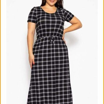 Extended Sizes  Black Plaid, Ankle Length Maxi Dress -  Oversized