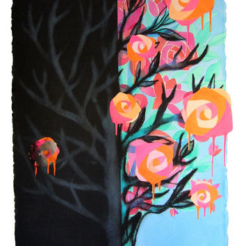 Abstract Tree Painting - Mixed Media Collage Art -  Conceptual Art - Large Watercolor - Pink - Orange - Blue - Black - 22 x 30