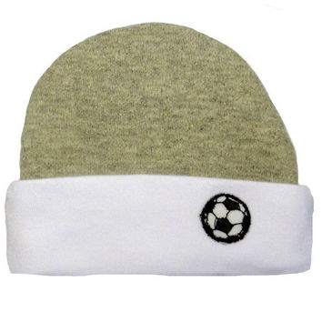Baby Boys' Gray and White Soccer Ball Hat