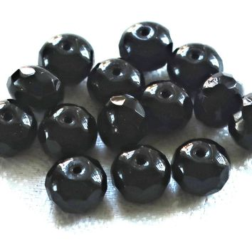 25 opaque black faceted puffy rondelle beads , 6 x 9mm Czech glass rondelles 9801