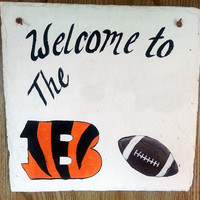Cincinnati Bengals slate sign, address,house,welcome