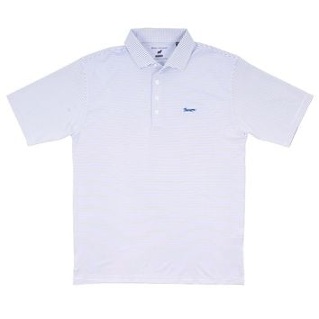 Longshank Striped Performance Polo in White & Royal by Country Club Prep