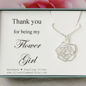 Gift for Flower girl gift sterling silver necklace Thank you for being my Flower girl Bridesmaids gift flower charm in a gift box wedding