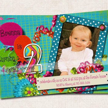Electric Blue Custom 2nd Birthday Party Invitation (Digital)