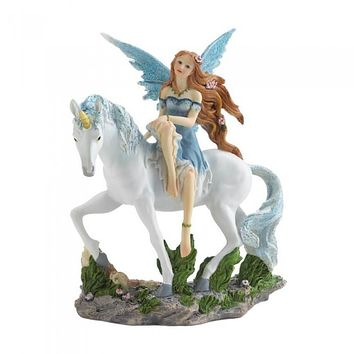 Blue Fairy & Unicorn Figurine