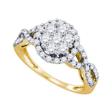 Diamond Flower Ring in 10k Gold 1.02 ctw