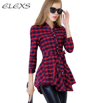 DCCKHY9 Elexs 2016 Spring and Autumn  Casual  Long-sleeve Women Plaid Long Sleeve Shirts TSP6043