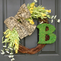 Spring Summer Wreath Moss Letter Wreaths Wild flower Wreath  Burlap Bow - White and Yellow Wildflowers Year Round Flowers Wreath