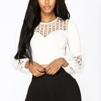 Lily Bubble Sleeve Top - White