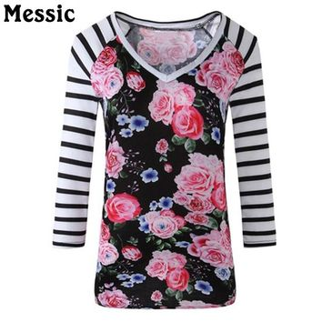 2018 Women Vintage Floral Printed T Shirts long Sleeve V-Neck Casual Basic T-Shirt Lady Tee Shirt Femme Tops plus size Sexy Tops