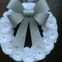 New Year's Wreath - Holiday Wreath - Silver and White Christmas Wreath with White Felt Flowers, Crystal Accents, and a Silver Glitter Bow