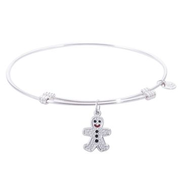 Sterling Silver Tranquil Bangle Bracelet With Gingerbread Man Charm