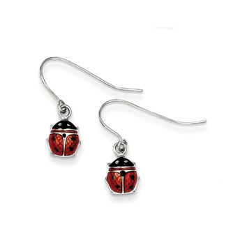 7mm Enameled Ladybug Dangle Earrings in Sterling Silver