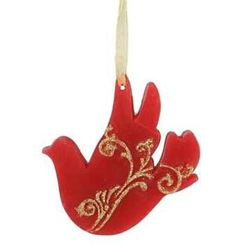 """4"""" Cinnamon Scented Red Wax Dove with Ribbon Christmas Ornament"""