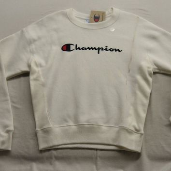 New Pacsun White Champion Big Chest Logo Crewneck Sweatshirt Size S