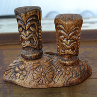 Tiki Salt & Pepper Shakers in Stand - Treasure Craft Pottery - Vintage Totem Hawaii