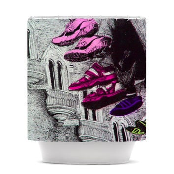 "Theresa Giolzetti ""Shoes in SF"" Gray Purple Shower Curtain"