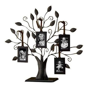 "Klikel Bronze Family Tree of Life Centerpiece Display Stand with 4 Hanging Photo Picture Frames, 13"" W, Medium"