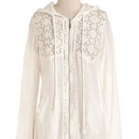 ModCloth 90s Mid-length Long Sleeve Airy Now and Then Hoodie in White