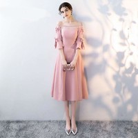 Pink Off The Shoulder Half Sleeve Backless Appliques Ruffles Lace Zipper Cocktail Gowns Tea Length Formal Dress