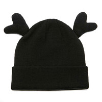 Black Antlers Design Turn Up Beanie Hat