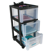 Office Depot Brand Medium Plastic Storage Cart 3 Drawers 26 15 H x 12 110 W x 14 310 D Black by Office Depot