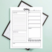 "To Do, Meetings, Meals, Workout, Water: Daily To Do List Large 8.5"" x 11"" Note Pad"