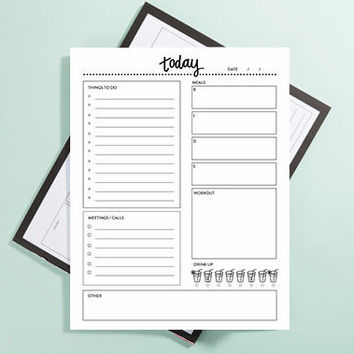 """To Do, Meetings, Meals, Workout, Water: Daily To Do List Large 8.5"""" x 11"""" Note Pad"""