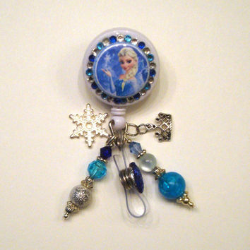 Queen Elsa Frozen Disney Retractable Reel ID Badge Holder Swivel Clip Carabiner Reel Lanyard Snowflake Tiara Olaf