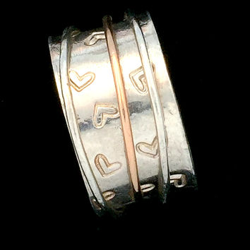 Spinner ring, Meditation Ring, Worry Ring, Heart spinner ring, Silver and gold ring, Anxiety Ring