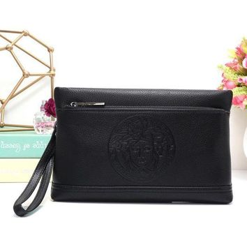 ICIKJG8 Versace Women Leather Zipper Wallet Purse