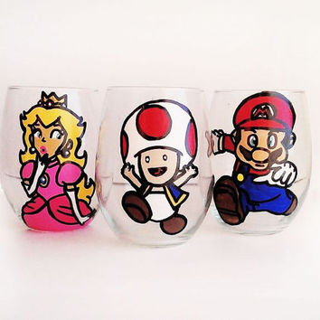 mario kart stemless wine glasses - peach - toad - mario - 20 oz