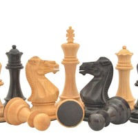 """Triple Weighted Staunton Series 4"""" King Hand Carved Wooden Chess Pieces in Ebonized Boxwood & Natural Boxwood with 4.0"""" King and Double Queens"""