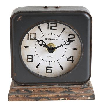 Distressed Vintage Pewter Table Clock -- 8-1/2-in