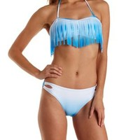 Blue Combo Ombre Fringe Bandeau Bikini Top by Charlotte Russe