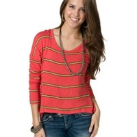 Vintage Havana® Ladies Orange and Yellow Striped Open Back Long Dolman Sleeve Fashion Top