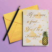Printable funny valentine card for wife, Valentines day gift for husband, Pineapple card for boyfriend or girlfriend, romantic greeting card