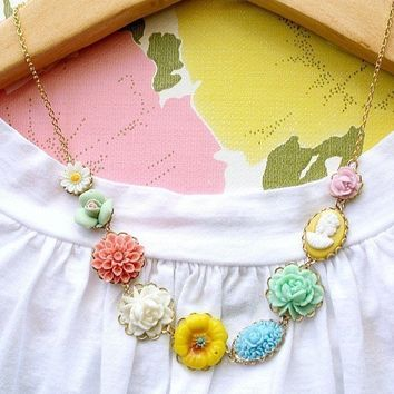 Flower Garden Necklace by tamar on Etsy