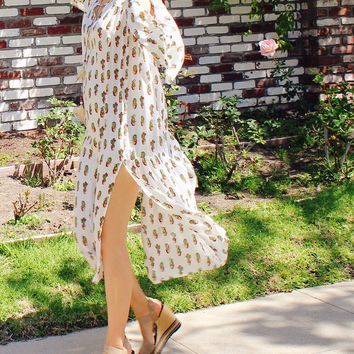 Cactus Print Long Dress