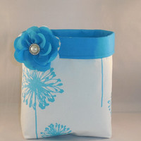 Turquoise and White Fabric Basket With Detachable Fabric Flower Pin For Storage Or Gift Giving
