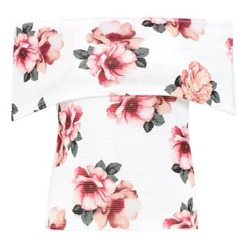 Jessica Floral Ribbed Bardot Top