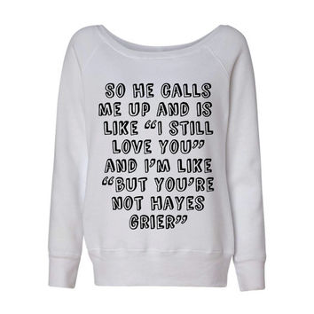 Hayes Grier So He Calls Me Up Wideneck Slouchy Women's Sweatshirt Triblend White Fashion Grey Marble Blue