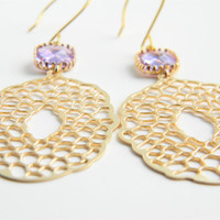 Matte Gold Filigree Pendant Dangle Earrings with Lavender Faceted Glass Drops