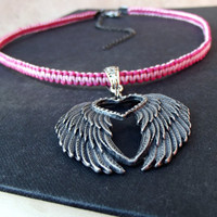 Angel Wings Necklace: Hot Pink and Bubblegum Pink Macrame Cord Necklace, Fantasy Jewelry, Textured Antiqued Silver Feather Necklace