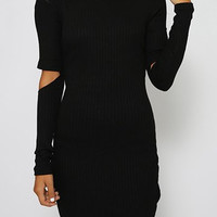 Black Long Sleeves Cut Out Body-con Dress