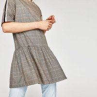 CHECKED DRESS WITH SIDE STRIPES