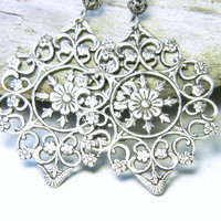 Gypsy earrings, Silver Boho earrings, filigree earrings, gypsy jewelry