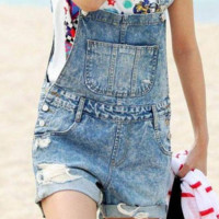 Cute denim shorts hot trousers loose large pocket denim overalls
