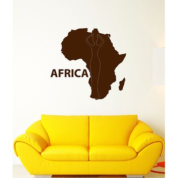 Vinyl Wall Decal Continent Africa African Native Map Stickers (3318ig)